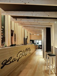 La Bohème bar embraces pine wood throughout the entire interior <3 ...  #retail #restaurant #interior #design