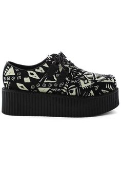 Geometric Pattern Print Creeper Platforms Shoes
