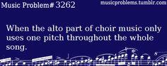 This is me playing the alto part at church: d, d, d, d, d, d, d, c, d...I GOT A DIFFERENT NOTE!! :D