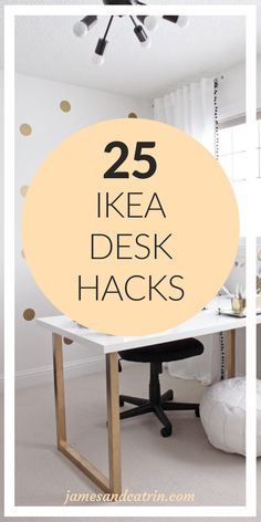 25 Ikea Desk Hacks That Will Inspire You All Day Long - james and catrin Ikea Office Hack, Ikea Home Office, Eco Furniture, Ikea Furniture Hacks, Ikea Nordli, Space Saving Desk, Desk Hacks, Brown Leather Chairs, Desk Layout