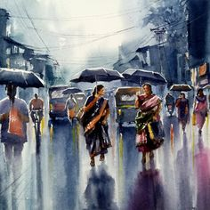 Watercolor Paintings For Beginners, Watercolor Pictures, Watercolor Landscape Paintings, Watercolor Art, Composition Painting, Rainy Day Composition, Village Scene Drawing, Rainy Day Drawing, Rain Art