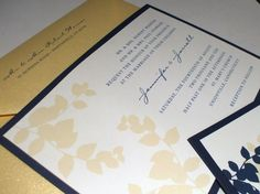 Wedding Invitation Navy and champagne leaves  by PaperGoodiesbyKim, $100.00