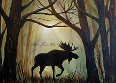 Moose Art Moose Painting Bull Moose Decor by LeslieAllenFineArt Pine Tree Silhouette, Silhouette Painting, Bull Moose, Moose Art, Moose Pics, Moose Skull, Moose Pictures, Moose Antlers, Deer Art