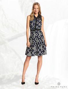 Trina Turk Women's Joelle Diamond Print Silk Pleated Dress