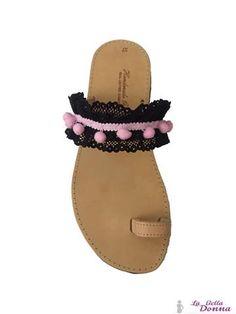 La Bella Donna - Χειροποιητα δερματινα σανδαλια - Black Pink Lace Slip On, Sandals, Shoes, Fashion, Moda, Zapatos, Shoes Outlet, Fasion, Footwear