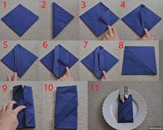 ▷ 1001 + ideas for Insta-worthy napkin folding techniques an.- ▷ 1001 + ideas for Insta-worthy napkin folding techniques and tutorials how to fold napkins with rings, blue napkin, silverware inside, white plate - Napkin Ring Folding, Christmas Napkin Folding, Christmas Tree Napkins, Folding Napkins, How To Fold Napkins, Christmas Napkin Rings, Christmas Table Decorations, Deco Table Noel, Invisible Stitch