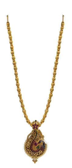 Wonderful crafted peacock pendant necklace with Golden beads...Simply fantastic...