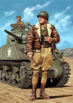 Patton in North Africa / Art illustration - World War II