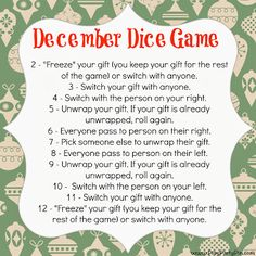 Dice Gift Exchange game- fun idea to do something a little different this year! One of my favorite Christmas party games and a great Christmas activity for kids!