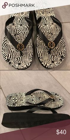 be2a55689ab Tory Burch wedge flip flop Like new! Size 7 black and white patern Tory  Burch Shoes Wedges
