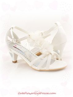 flower girl shoes | Ivory Chiffon Flower Decorated Girl Sandals