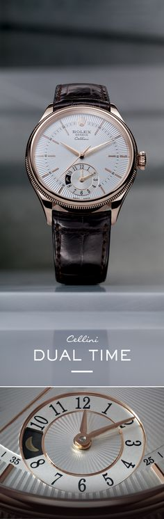 "The Rolex Cellini Dual Time 39 mm in Everose gold with a silver dial featuring a ""rayon flammé de la gloire"" guilloche motif and mounted on an alligator leather strap. #RolexOfficial #Baselworld"