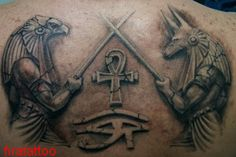 Anubis And Ankh With Egyptian Eye Tattoo On Upperback Egyptian Eye Tattoos, Egyptian Tattoo Sleeve, Egypt Tattoo, Egyptian Art, Horus Tattoo, Occult Tattoo, Anubis Tattoo, Chess Piece Tattoo, Back Piece Tattoo