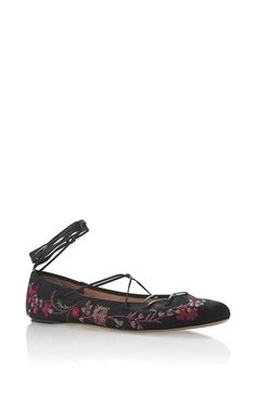 Black Floral Embroidered Satin Ballet Flat With Leather Ankle Lacing by ETRO for Preorder on Moda Operandi