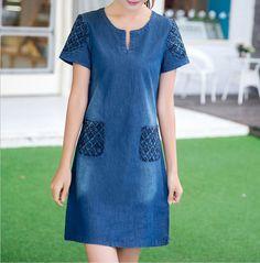 2015 nueva denim summer dress alta calidad mujeres v-cuello flojo de moda vestido de jean para mujer corto manga del tamaño más vestidos D865(China (Mainland))