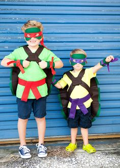 One (1) Machine stitched turtle shell, mask, belt and cuffs made from felt and cotton fabric. This costume set is great for birthday party
