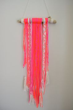 neon macrame wall hanging/mobile by bravelittledesigns on Etsy, $40.00