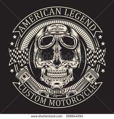 Motorcycle skull typography, t-shirt graphics, vectors