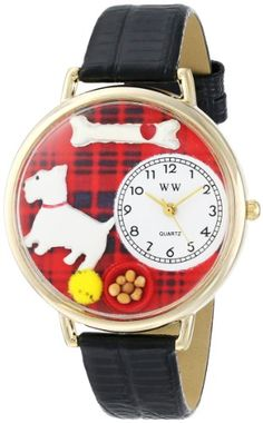 Whimsical Watches Unisex G0130073 Westie Black Skin Leather Watch - http://www.artistic-watches.com/2015/03/05/whimsical-watches-unisex-g0130073-westie-black-skin-leather-watch/
