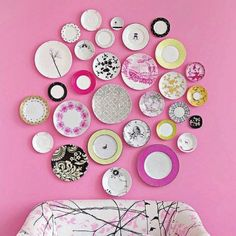 Plates used as wall decor. So pretty