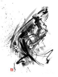 Samurai Ronin Wild Fury Bushi Bushido Martial Arts Sumi-e Original Ink Painting Artwork Painting