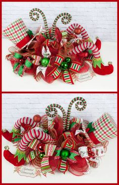 +32 Creative Ways Christmas Centerpiece Ideas Table Diy 68 - freehomeideas.com Christmas Swags, Noel Christmas, Holiday Wreaths, Christmas Ornaments, Mesh Wreaths, Elf Centerpieces, Christmas Centerpieces, Centerpiece Ideas, Christmas Elf Decorations
