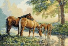 cross stitch horses by a stream - Google Search