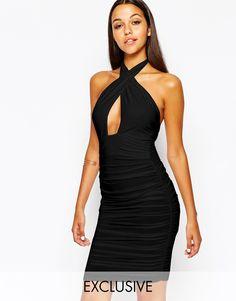 Club L Slinky Wrap Front Dress With Halterneck