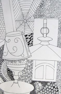 Lantern Line Drawing  Art I  Drawing from observation, students developed contour line drawings of a still life set up with multiple lights and lanterns. Students then explored different ways to use line designs in their negative space to add depth and interest in their drawings.
