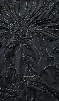 Magadalena Gore Skirt (detail):  lightweight cotton, backstitch reverse applique, Magdalena stencil, tone-on-tone Black