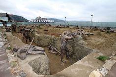 Una escena de la Primera Guerra Mundial tamaño real, Eceabat, Turquía