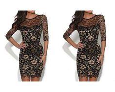 Lace Dress -  black&gold FULL BACK John Zack original - dresses  uk  10 eu 38