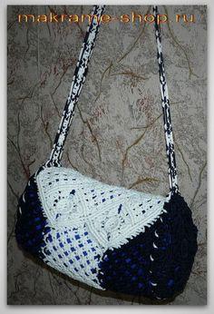 Blue bag-macrame (hand made)