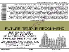 LDS Primary Families Are Forever Handout. Future Temple Recommend with Gospel Standards listed on the back. Comes as an Instant Download with the JPG and a PDF with 4 to a page