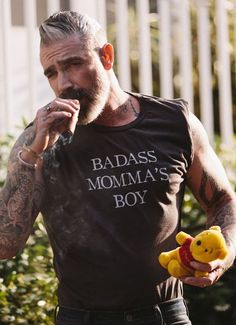 Badass Momma's Boy Tee Vintage Black Rockabilly male portrait in tshirt beard and smoking cigar Daniel Sheehan, Cigar Men, Statement Tees, Older Men, Beard Styles, Bearded Men, Gorgeous Men, Black Men, Harley Davidson