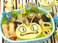 Charaben (a decorated Bento) of Meowth from Pokemon.