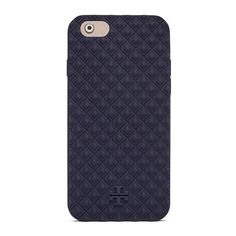 Tory Burch Marion Embossed Silicone Case For Iphone 6 (£39) ❤ liked on Polyvore featuring accessories, tech accessories, navy blue, tory burch tech accessories and tory burch