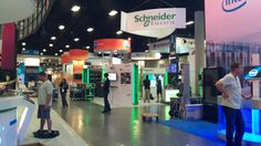 The Schneider Electric booth being set up at CiscoLive! US #clus