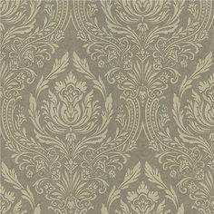 601-58427 Green Damask - Pastiche - Kenneth James Wallpaper