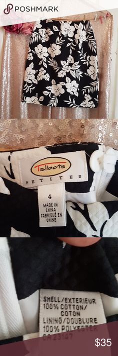 TALBOTS SKIRT Cuuuuute skirt by Talbots, like new condition. ✔zipper in the back. ✔Black and white flower design. ✔Look at all pictures and ask questions if you have them. ✔I ship fast. ✔Smoke free house. ✔Bundle up for mor savings.  Talbots Skirts Midi