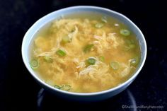 Egg Drop Soup Recipe - 32 ounces chicken broth 1 teaspoon ground ginger 1 tablespoon soy sauce 2 eggs, beaten ¼ cup chopped green onions (about 2 green onions) salt and pepper INSTRUCTIONS Add chicken broth, ground ginger and soy sauce to a saucepan; bring to a simmer. Slowly stream in beaten eggs while stirring the soup in one direction. Add green onions. Salt and pepper to taste.