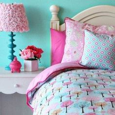 Tween Girl Bedroom Ideas With Blue Walls And Blue Pink Bedding And Silk Roses And Bedside Lamp With Flower Shade , Decorating Tween Girl Bedroom Ideas In Bedroom Category