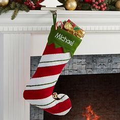 Jolly Jester Embroidered Stocking- Striped