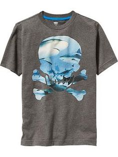 Boys Skull with Sharks Graphic Tees
