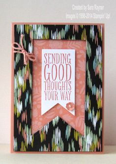 Perfect pennants good luck card using Stampin' Up! Goodbye And Good Luck, Goodbye Cards, Good Luck Cards, Pennant Banners, Get Well Cards, American Crafts, Happy Birthday Cards, Diy Cards, Scrapbook Cards