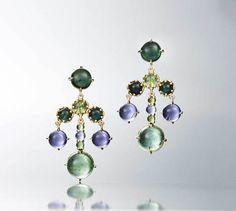 Czarina chandelier earrings in 18k yellow gold with green tourmaline and iolite by Daria de Konig