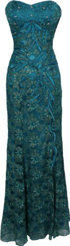Teal Metallic Beaded Lace Overlay Formal Dress Prom Gown MOB from PacificPlex.com. For Military Ball 2013? :)