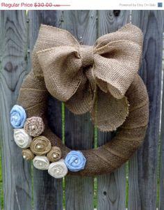 HopOnSale+Burlap+Wreath+with+Large+Burlap+Bow+by+TheEducatedOwl,+$27.00