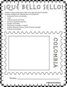 Have your students get their creative juices flowing with Qu bello sello!. Students will design and create a stamp to represent what they have learned after a lesson about a Spanish-speaking country. Each stamp will be unique and will represent what each individual student learned about that country.