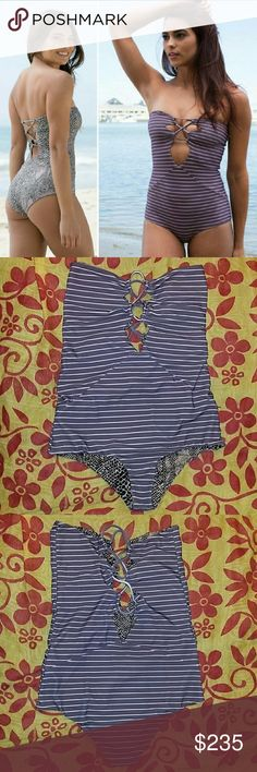 Acacia bronx fig cape cod stripe one-piece suit M Rare bronx strapless onepiece swimsuit in fig cape cod stripe by acacia swimwear. Medium. Features interlaced cutout openings at fown front & back. The suit I'm selling is shown on the rught of puc 1, and in pics 2-4 of the actual item. Fig cape cod is a purple-ish brown color with naked nude horizontal stripes. Has a frw fuzxies which are normal for this print. No trade please. The price is firm. Price reflects high percentage posh…